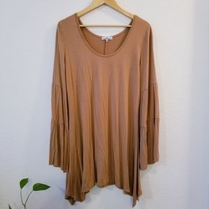 Bell Sleeve Boho Tunic Asymmetrical Hem Top